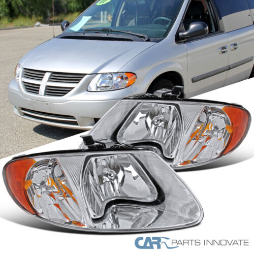 For 01-07 Caravan Town /& Country 01-03 Voyager Amber Euro Clear Headlights Pair