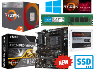AMD Ryzen 4 Core 3.7GHz MSI A320M PRO Gaming Motherboard...