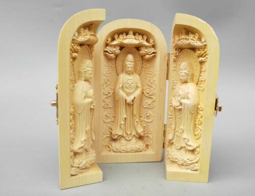 Exquisite Chinese Boxwood carving Three west st guanyin Buddha statue Box