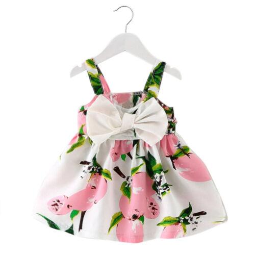 Girl Cartoon Lemon Printed Infant Outfit Sleeveless Princess Gallus Dress Clothe