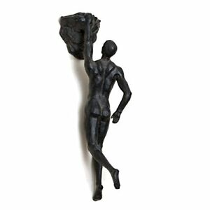 Rock-Climbing-Man-Bronze-Wall-Sculpture-Figurine-Climber-Polyresin-Ornament