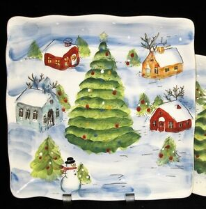 Image is loading 4-MAXCERA-CHRISTMAS -TOWN-Village-PineTree-Snowman-SCALLOPED-  sc 1 st  eBay & 4+) MAXCERA CHRISTMAS TOWN Village PineTree Snowman SCALLOPED DINNER ...