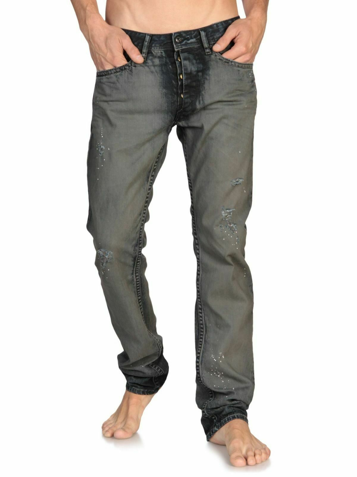 Diesel Braddom 0819E Men's Dark bluee Regular Slim Carred Jeans Trousers