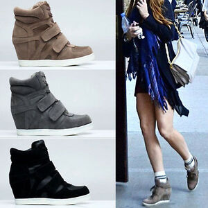 Womens-Wedge-Suede-High-Tops-Sneakers-Lady-fashion-Hi-Top-Trainers-Ankle-Boots