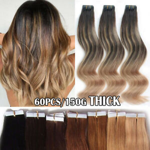 60PCS-150G-Remy-Tape-in-Real-Human-Hair-Extensions-Russian-12-034-24-034-Ombre-Thick-F