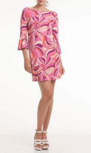 Trina Turk Womens Multicolor Printed Jersey Bell Sleeve Shift Dress Sz S 5106