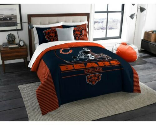 055> Chicago Bears 3 Piece KING SIZE Printed Comforter & Shams Northwest