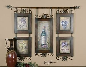 Wine Bottles Grapes Hanging Collage Artwork Kitchen Winery Wall Art 707430473717 Ebay