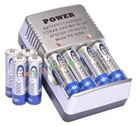 8 X AA 3000 Ni-MH 1.2V Rechargeable battery Cell MP3 4+battery charger