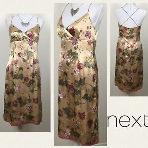 NEXT-Gold-Dress-Uk-12-Satin-Floral-Wiggle-Pencil-Cocktail-Floral-Party-Xmas-NEW