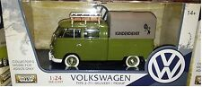 VW Bus Type 2 Volkswagen T1 Pickup Diecast 1:24 Motornmax 8in Green Camper Shell