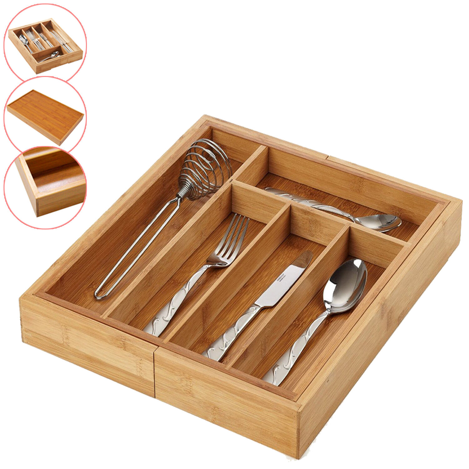 Bamboo Extending Cutlery Drawer Tray Wooden Organiser 5-7 Adjustable Compartments Naturally Durable /& Water Resistant