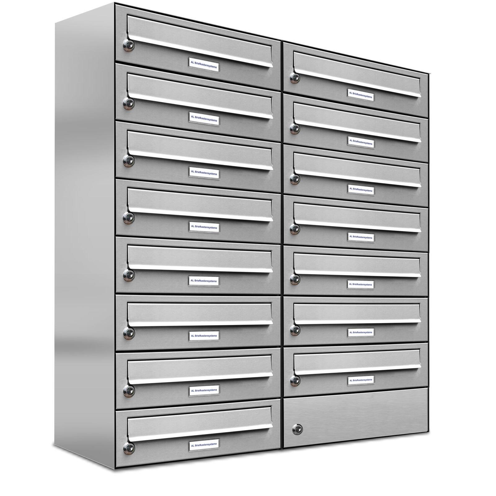 15er Premium V2A Edelstahl Briefkasten Anlage 15 Fach Wandmontage A4 Postkasten