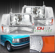 DEPO CHROME CLEAR SIGNAL PARKING CORNER LIGHTS LAMPS 92-96 F150 F250 F350 BRONCO