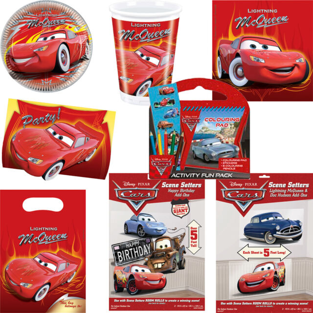 Disney Cars Party Supplies Decorations Plates Cups Napkins Table cover Tableware
