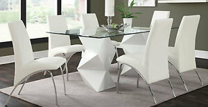 ULTRA MODERN WHITE ZIGZAG DINING TABLE 6 CHAIRS DINING ROOM ...