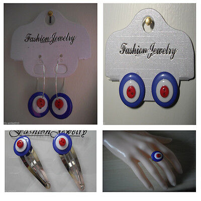 MOD TARGET Accessories 60s Mod Earrings RAF Target Hair Clip RAF Roundal Ring
