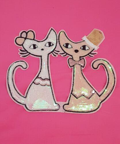 Animal Gato Gatito Lentejuelas parche bordado parche de encaje y apliques Motif Disfraz