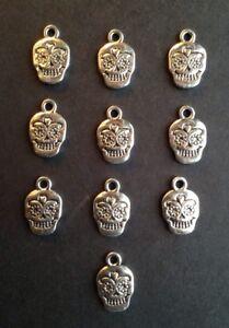 Bronze Sugar Skull Tibetan Charm X 2  Findings//jewellery making// craft