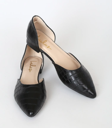 Lulus Cecee Black Croc Pointed-Toe D'Orsay Flats Slip On Vegan Leather Low Block