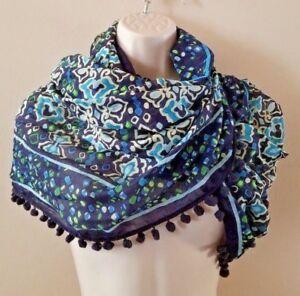 Vera-Bradley-Blue-Pattern-Infinity-Scarf-w-Pom-poms