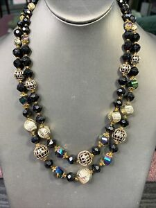 1950-s-Ab-Black-Gold-Lucite-Beaded-Two-Strand-Pearl-Necklace-22-W-Germany