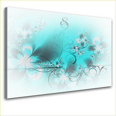 LanaKK edel Leinwand Design Keilrahmen Wand Bild BLÜTENTRAUM LIGHT TÜRKIS blau
