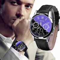 Luxury Mens Blue Ray Glass Watch Quartz Analog Watches PU Leather Wrist Watch