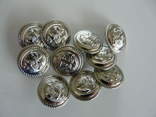 20mm 10 SILVER COLOURED METAL ANCHOR BUTTONS SIZE 32