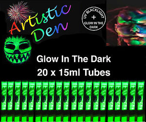 20-x15ml-UV-NEON-GLOW-IN-THE-DARK-FACE-amp-BODY-PAINT-2-in-1-By-Artistic-Den