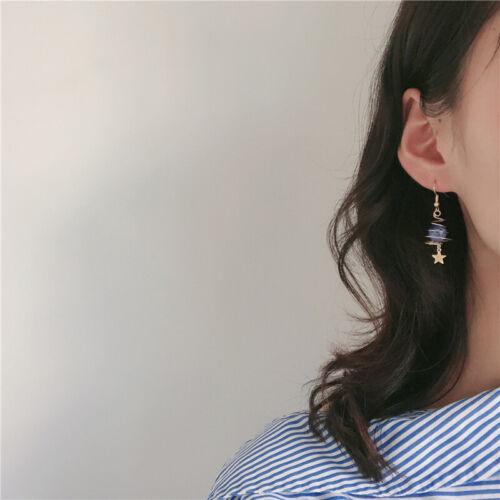 New Women Spiral Around the Earth Blue Epoxy Planet Star Dangle Hook Earrings Z