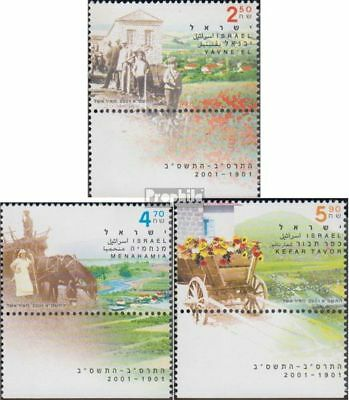 Topical Stamps Israel 1609-1611 With Tab Unmounted Mint Stamps Never Hinged 2001 100jahrfeiern The V Crease-Resistance