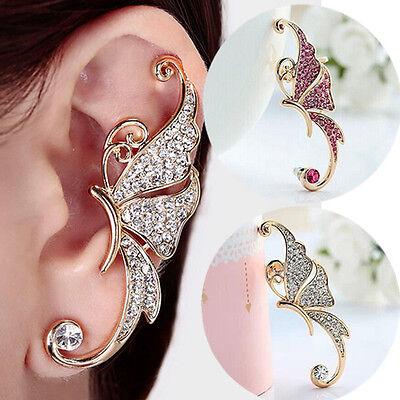 2015 Woman Rhinestone Crystal Butterfly Ear Cuff Left Earring Clip On Cartilage