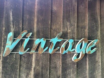 """Large Industrial """"VINTAGE """" Retro Turquoise w Rusty Patina  ~ Metal Letter Sign"""