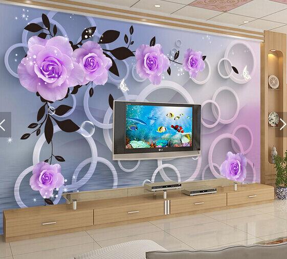 3D Sauberes Wasser, Blumen  Fototapeten Wandbild Fototapete BildTapete FamilieDE