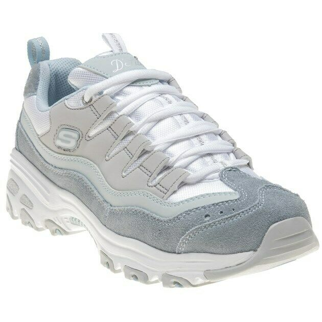 New Womens Skechers bluee White D'lites Textile Trainers Chunky Lace Up