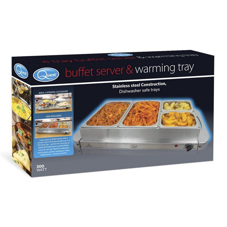 Acier Inoxydable 4 Quatre Compartiment buffet server réchauffement plateau avec Claire Couvercles