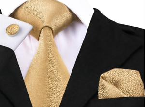 Set-Cravate-8cm-100-Soie-Dore-Bouton-deManchette-Mouchoir-Elegant-ChicModeFrance