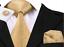 Set-Cravate-8cm-100-Soie-Dore-Bouton-deManchette-Mouchoir-Elegant-ChicModeFrance miniature 1