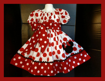 Custom Made Minnie Mouse Dress red dot Applique Name Birthday12M 24m 5 2T-12 yrs