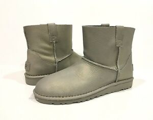 6c06eb5d3c3 Details about UGG CLASSIC MINI UNLINED METALLIC WOMEN'S BOOTS GRAY SILVER  LEATHER - US 8 -NIB