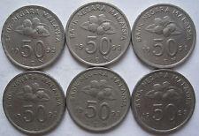 Malaysia 50 sen 1993 coin 6 pcs