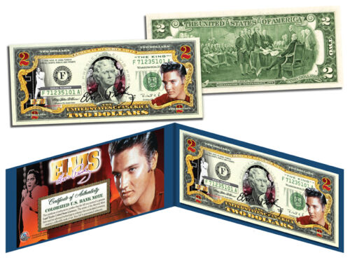 ELVIS PRESLEY *red*Legal Tender US $2 Bill *COLORIZED LICENSED *COLLECTIBLE GIFT