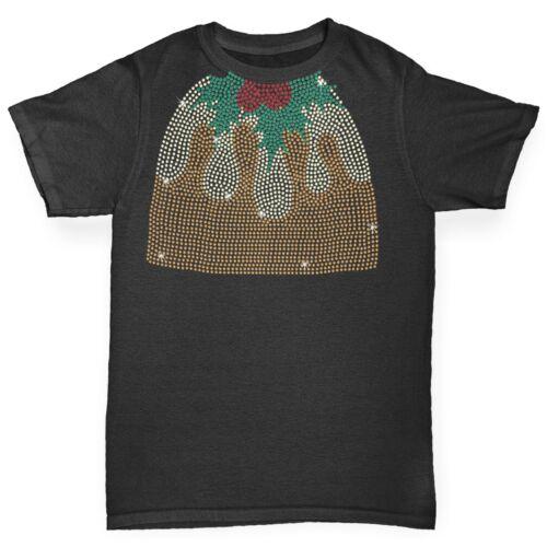 Twisted Envy Boy/'s Headless Christmas Pudding Rhinestone Diamante T-Shirt
