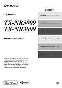 onkyo integra tx nr3009 receiver owners instruction manual ebay rh ebay com onkyo tx nr5009 specs Onkyo 9.2 Receiver