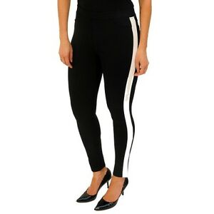 M L S Black Stretch Leggings with Beaded Side Stripe XS XL NEW