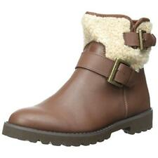 New EAST SPIRIT Brown Leather Brower Faux Fur Ankle Short Boots Booties 7.5 Med