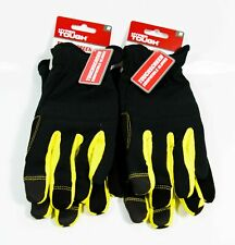2 Pair Hyper Tough Touchscreen Compatible Utility Work Gloves Size M New