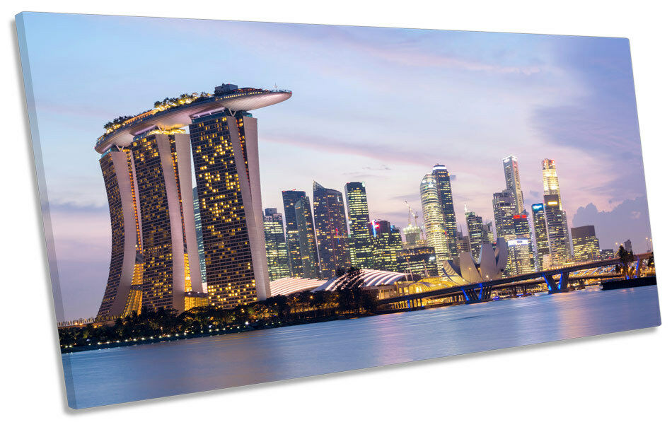 Singapore Stadt Skyline Malaysia PANORAMIC CANVAS Wand Kunst Framed Drucken