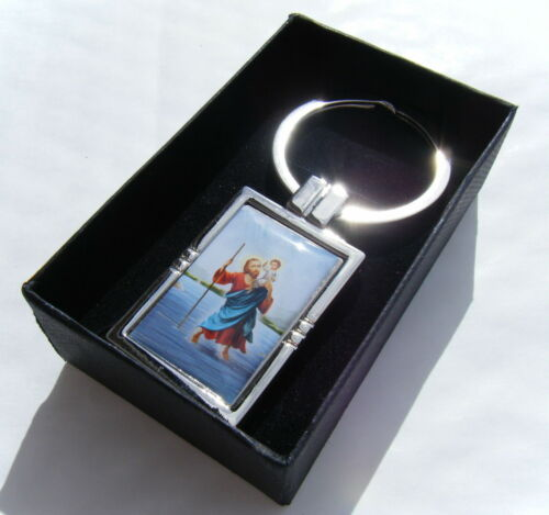 St Christopher Keyring Chrome Metal Resin Colour Picture Gift Boxed